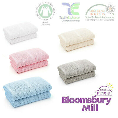 Cellular Baby Blankets Gift Soft Cotton Newborn Boy Girl Bloomsbury Mill 2 Pack