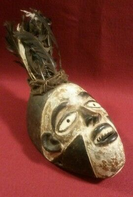 Bakongo Villi Painted Mask With Feathers Congo African Art