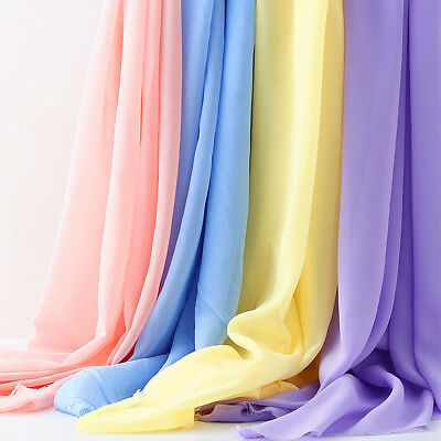 Soft Silky Chiffon Fabric Tulle Voile Georgette Dress Wedding Decor Sheer Yard