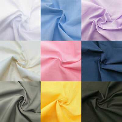 Plain Poplin Cotton Polyester Fabric Broadcloth Polycotton Sewing Quilting Shirt
