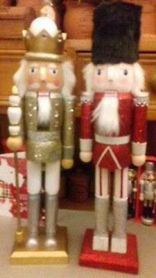 Two Nutcrackers Christmas Decoration Gold Prince & Silver Shiny Red Soldier New