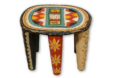 "Colorful African Nupe Stool 11.5"" - Nigeria"
