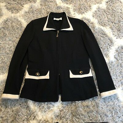 St. John Collection By Marie Gray Knit Jacket Black Ivory Buttons Size 2