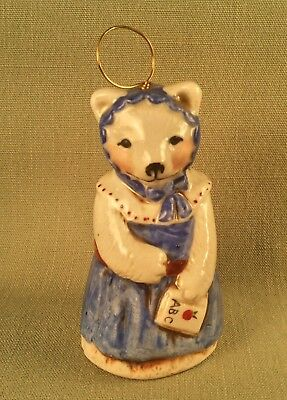 Salamander Bear BELL Ornament Signed Pottery Ceramic 1985 Handmade w/ ABC Book