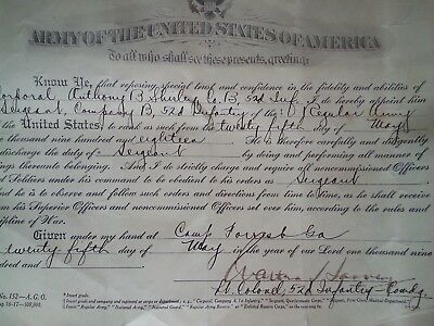 WWI Army Promotion Certificate 1918 Sergeant 52 Infantry Camp Forest Ga.