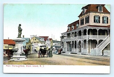 Postcard RI Block Island Main Thoroughfare Street View Horse Buggy Fountain G21