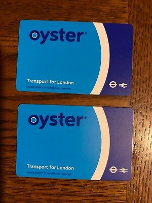 Two London Travel Oyster Cards Each With £2.2 Credit Balance.