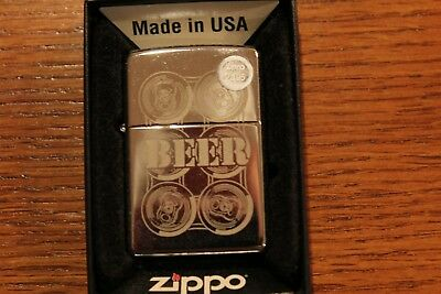 Zippo 24720 Beer 6 Pack 250 Polished Chrome New in Mint Condition Never Fired