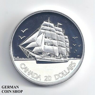 Canada 20 Dollars $ 2005 sailing ship the clipper silver proof hologram - Kanada
