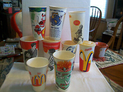 9 Assorted Vintage McDonalds Cups w/ Styrofoam Coffee Cup