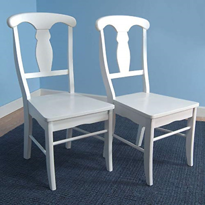New Target Marketing Systems Set of 2 Empire Wooden Dining Chairs, White