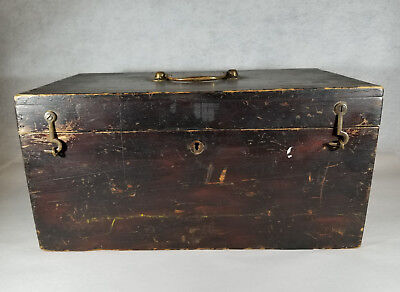 19th c. Handled Wood Box Toolbox w/ Inner Tray Brass Hardware Primitive Antique