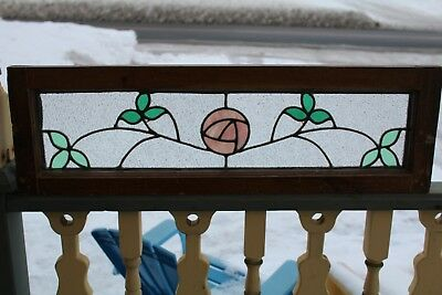 Antique Framed Stained Leaded Color Glass Window  Architectural Victorian House