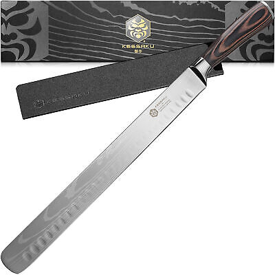 Kessaku Carving Knife -Samurai Series- Japanese Etched High Carbon Steel 12-inch