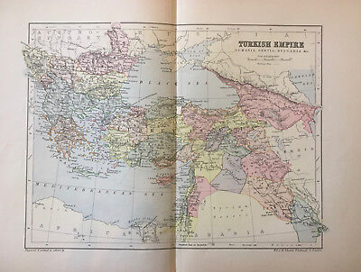 Box Lot 51 ORIGINAL COLOR ENGRAVED JOHNSTON ANTIQUE MAPS - Approx 100 Years Old