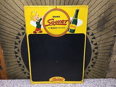 Vintage 1950 SQUIRT Chalkboard Soda Advertising Tin Sign