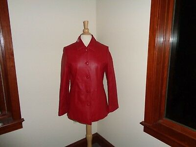 JULIET MICHELLE Red Leather Jacket Womens M SOFT!