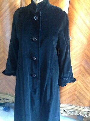 Long Black Velvet Vintage Aquascutum Swing Coat