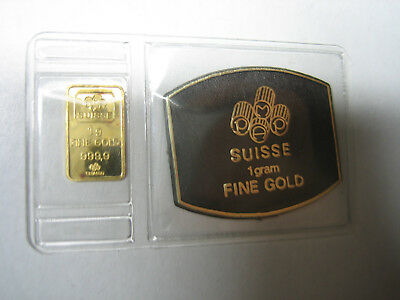 VERY OLD Vintage 1 Gram Solid Gold .9999 Pamp Suisse w/ Assay