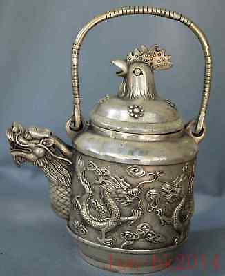 Collection Handwork Miao Silver Carve Dragon Play Bead Exorcism Cock Lid Tea Pot