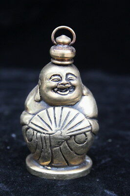 Collection Old Miao Silver Carve Smile Buddha Hold Fan Tibet Lucky Snuff Bottle
