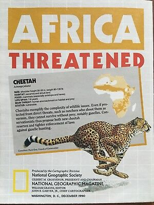 NATIONAL GEOGRAPHIC AFRICA THREATENED 1990 Fold Open ANIMAL MAP Cheetah
