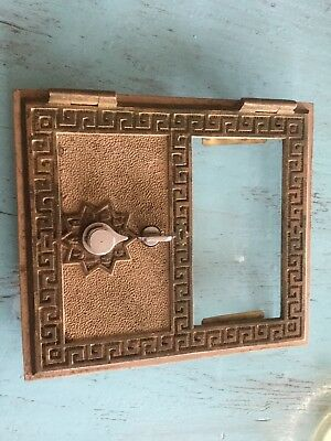 Vintage Brass Glass Combination Post Office Mail Box Door and Frame