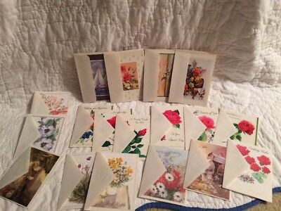 Vintage FLORAL All Occasion Cards Lot Of 18 Flowers Roses Lily