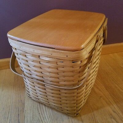 "1999 Bradford Large 2 Handle Basket with Wood Lid 12.5"" H x 14"" W x 11"" D"