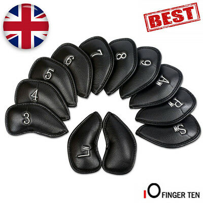 Iron Head Covers 12 Pcs PU Leather Golf Club Headcovers Blue Red Black Gift Set