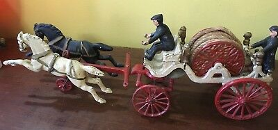 VINTAGE CAST IRON TOY HORSE DRAWN FIRE HOSE WAGON WITH TWO MEN Large