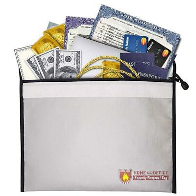 "Fireproof Document Bag 15"" x 11"" Money Bag Non-Itchy Silicone Coated Pouch"