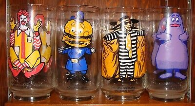 Vintage 1977 McDonald's Collector Series Glasses Complete Lot of 4