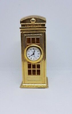 Miniature Ornamental Brass Clock - GPO Old Style Telephone Box