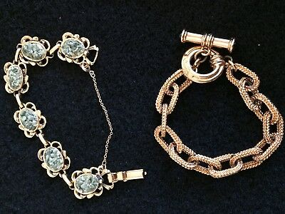 Two Estate Vintage Jewelry Gold Tone Bracelets, Toggle, Safety Clasp