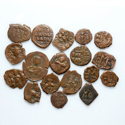 Premium Quality-Lot Of 18 Byzantine & Arab Byzantine Uncertain Coins