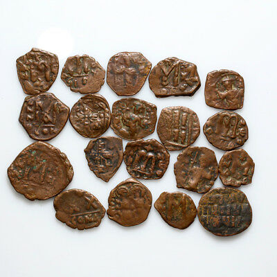 Premium Quality-Lot Of 19 Byzantine & Arab Byzantine Uncertain Coins
