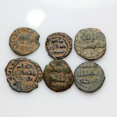 Lot Of 6 Unknown Ancient Medieval Bronze Islamic Islam Bronze Coins