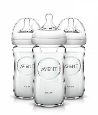 Philips AVENT Natural Glass Bottle (Pack of 3) 8 Ounce