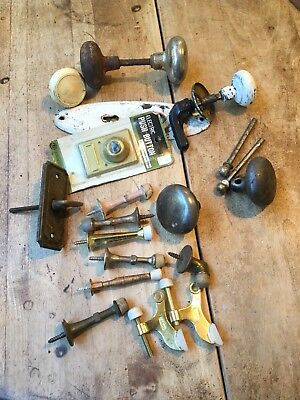 Antique Door Hardware Miscelaneous Lot Knobs Stops Plates Nails