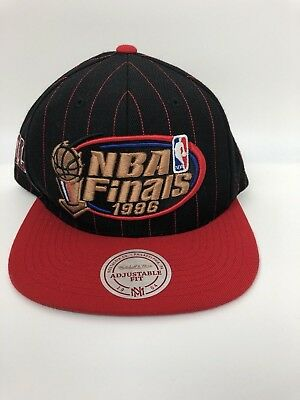 VTG Mitchell & Ness Chicago Bulls Snapback Hat Cap Red Black NBA Finals 1996