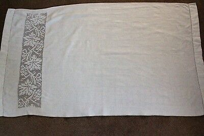 Vintage large white linen cloth with crochet detail on one end.