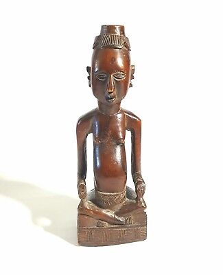 "ANTIQUE 1860 African Seated Pregnant Female Wood Statue Fertility Goddess 11""×4"""