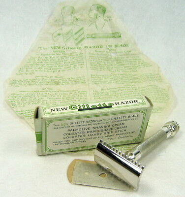 1930s Gillette The New Palmolive 3-Piece Open Comb Safety Razor Blade Directions