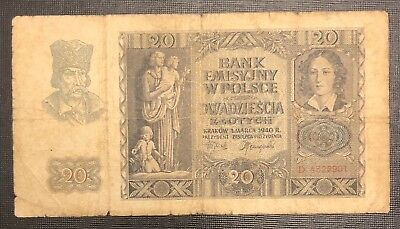 POLAND 10 Zlotych, 1940, P-94, WWII, World Currency