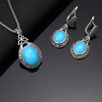 Necklace Pendant & Earring Set Turkish Boho Antique Silver Crystal Turquoise