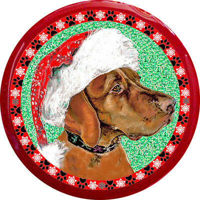 Santa Vizsla Dog Christmas Pin
