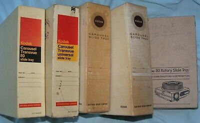 5 Kodak Carousel 80 Slide Projector Trays with Boxes, Used