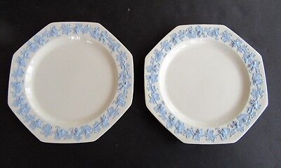 """Wedgwood Lavender Grapes On Cream  c.1900 Two Square Dinner Plates 9 1/2"""""""