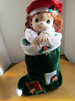 """Precious Moments Christmas Red Headed Doll in Velvet Stocking New in Box """"Holly"""""""